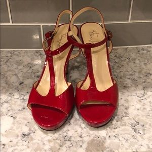 Franco Sarto patent leather red heels. Size 8.5